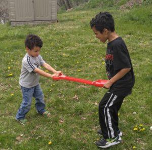 fighting over shovel