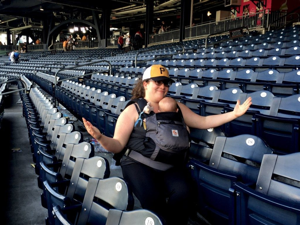 Michelle at Pirates baseball game at PNC Park, June 2016