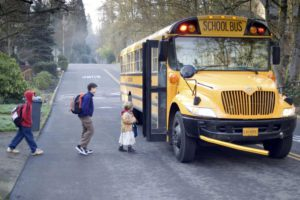 Children getting on the school bus