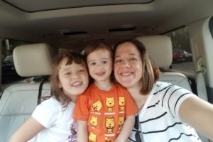mary and the girls in the car before school