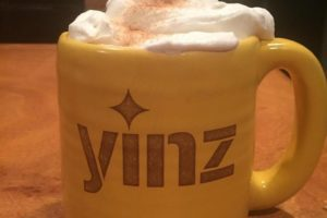 I mean, it doesn't have to be a cup of tea. This is hot cocoa, Bailey's, and hand -whipped cream, topped with cinnamon sugar. In my Pittsburgh Pottery Yinz mug. So, ya, basically heaven.