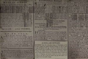 Pittsburgh Gazette ads for the sale and return of slaves