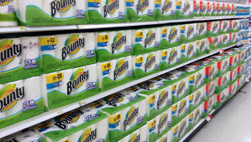 Shelves full of Bounty paper towels