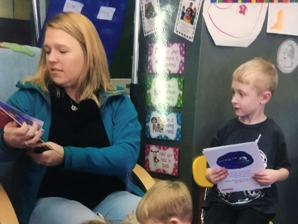 Volunteering as guest reader in Kindergarten.