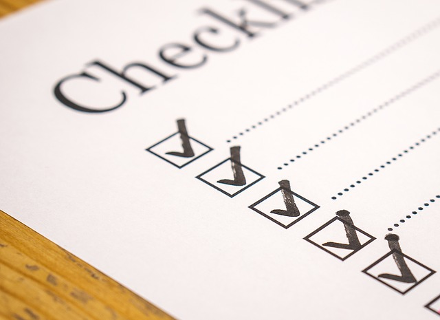 Image of a checklist with square check boxes