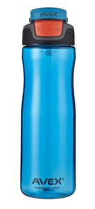 Blue Avex brand water bottle in the 25 ounce size