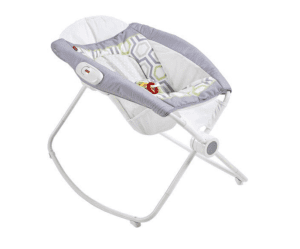 Baby rock and play sleep bassinet in gender neutral gray and green shades