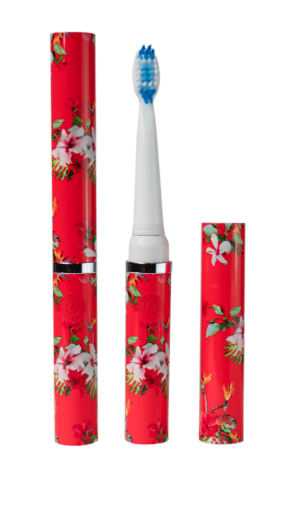 Red floral electric toothbrush