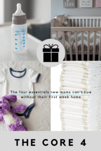"""Four pane graphic with a gift in the center. Includes a baby bottle, crib, onesie, and disposable diapers. Titled """"The Core 4."""""""