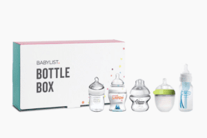 The Babylist bottle box that contains 5 different brands of baby bottles for new moms to try