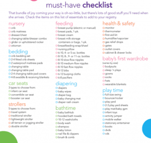 Baby registry checklist with many items