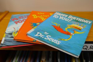 Close-up photo of three Dr. Suess books