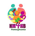 """Human Milk for Humab Babies logo - moms holding babies in a nursing position. Text reads """"HM4HB Pennsylvania."""""""